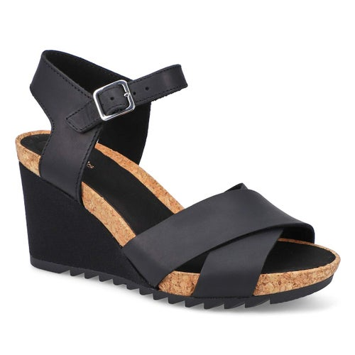 Lds Flex Sun black wedge sandal