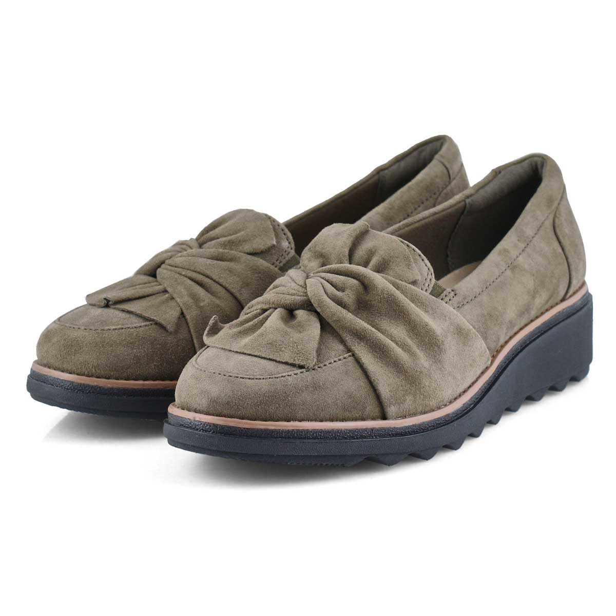 Lds Sharon Dasher olv suede wedge oxford