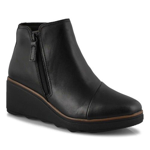 Lds Mazy Eastham black wedge ankle boot