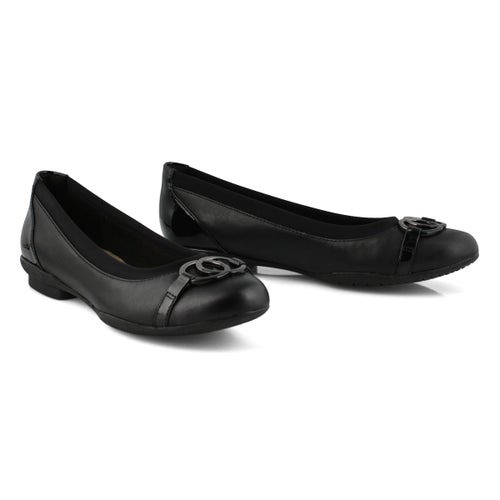 Lds Sara Dahlia black slip on flat