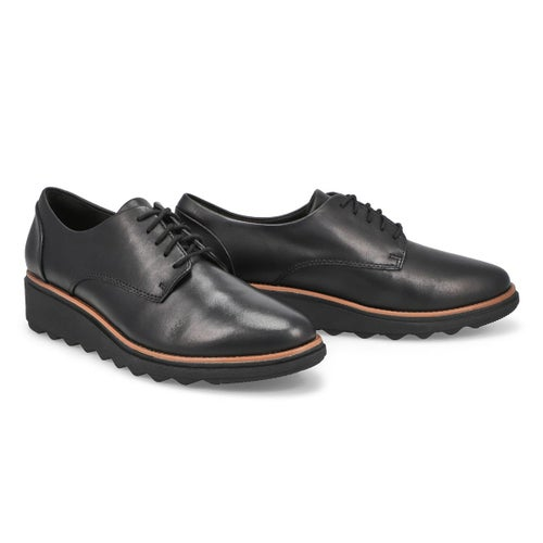 Lds Sharon Noel blk leather wedge oxford