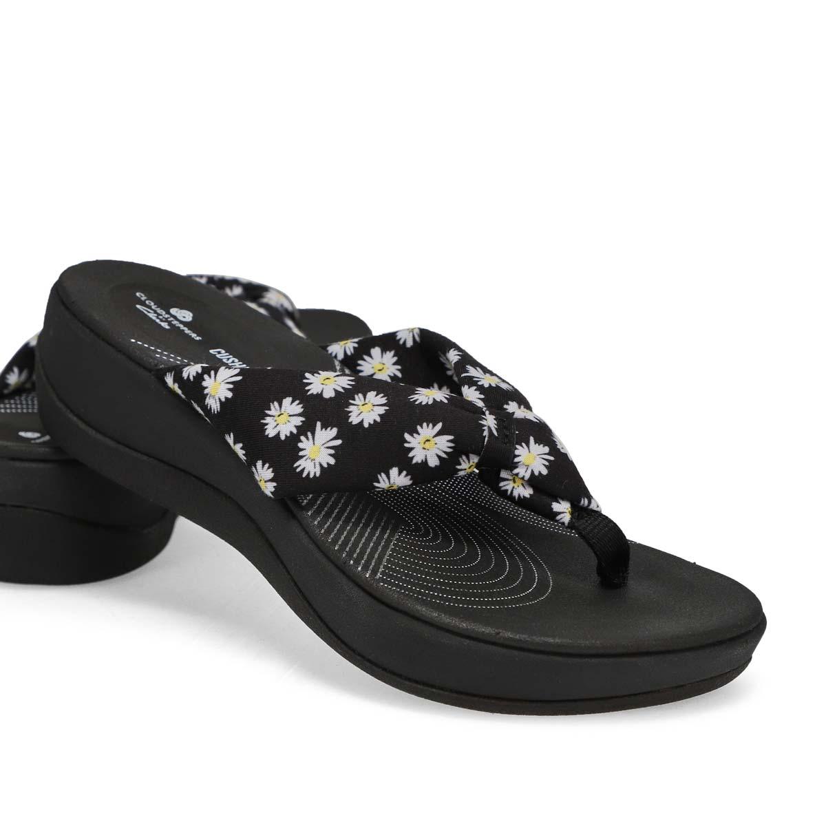 Tongs compensées ARLAGLISON, noir/floral, femmes