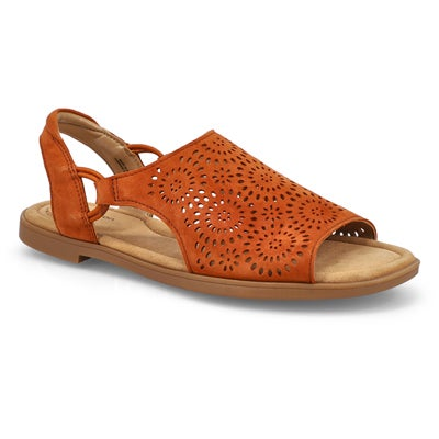 Lds Reyna Swirl Casual Sandal-Dark Tan