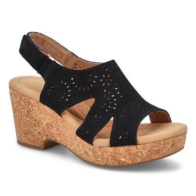 Lds Giselle Bay Wedge Sandal Wide-Black