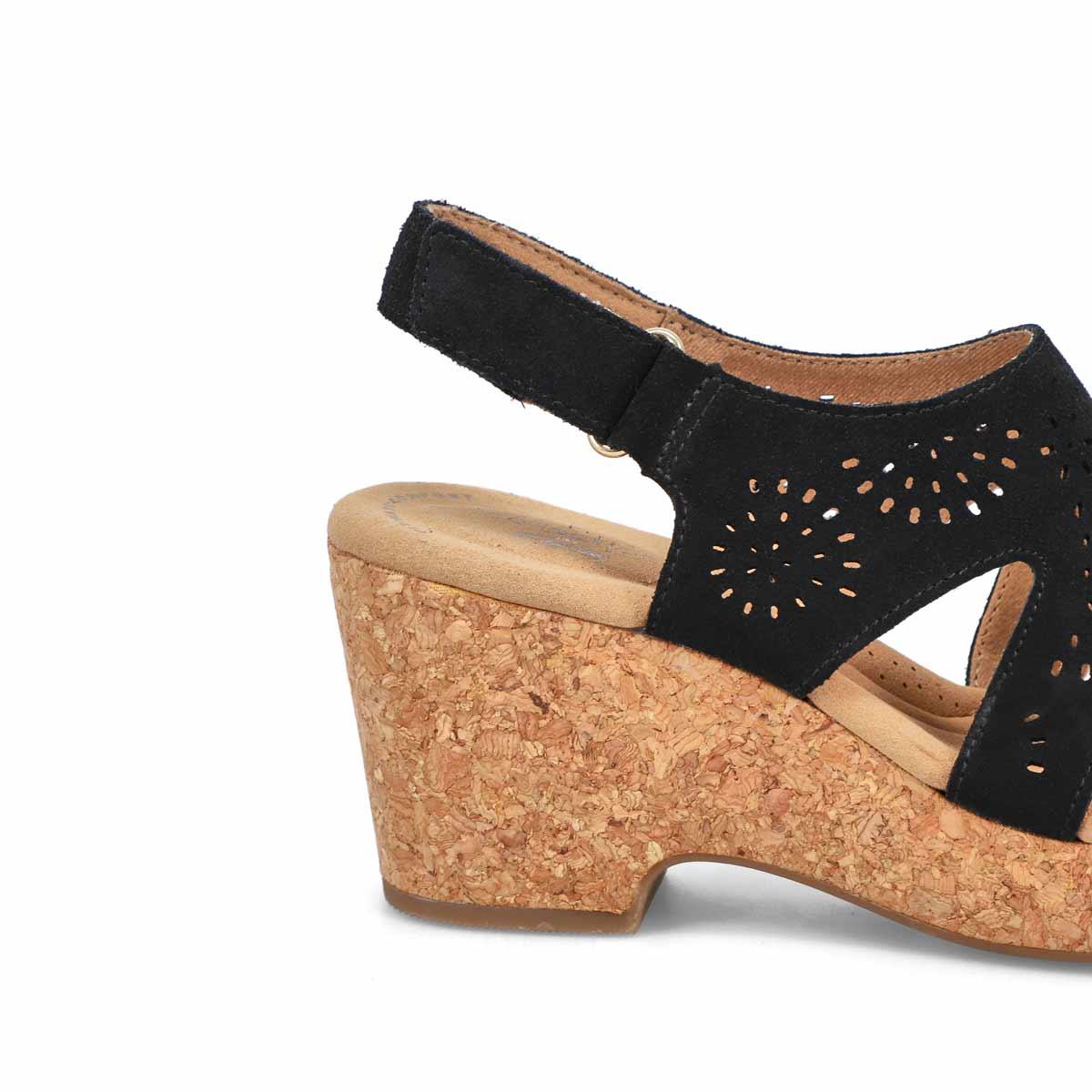 Women's Giselle Bay Wedge Sandal - Black/ Wide