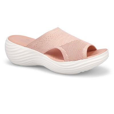 Lds Marin Coral lt pink wedge slide sndl