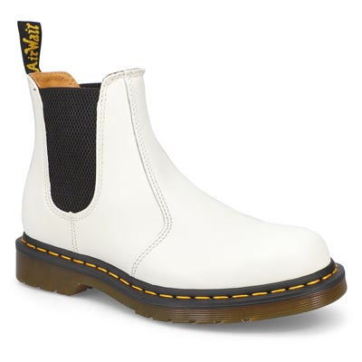 Lds 2976 Yellow Stitch wht chelsea boot