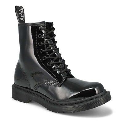 Lds 1460 8 eye mono blk pat leather boot
