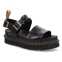 Lds Vegan Voss blk 2 strap casual sandal