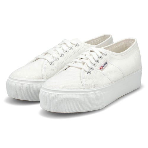 Lds Platform white canvas sneaker