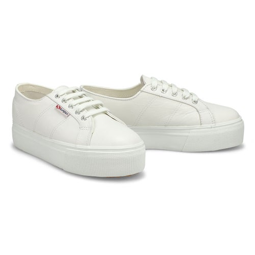 Lds Platform white leather sneaker
