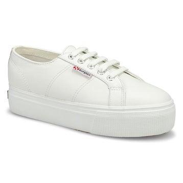 Women's Platform Leather Sneaker - White