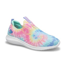 Grls Ultra Flex blu/mlti slip on sneaker