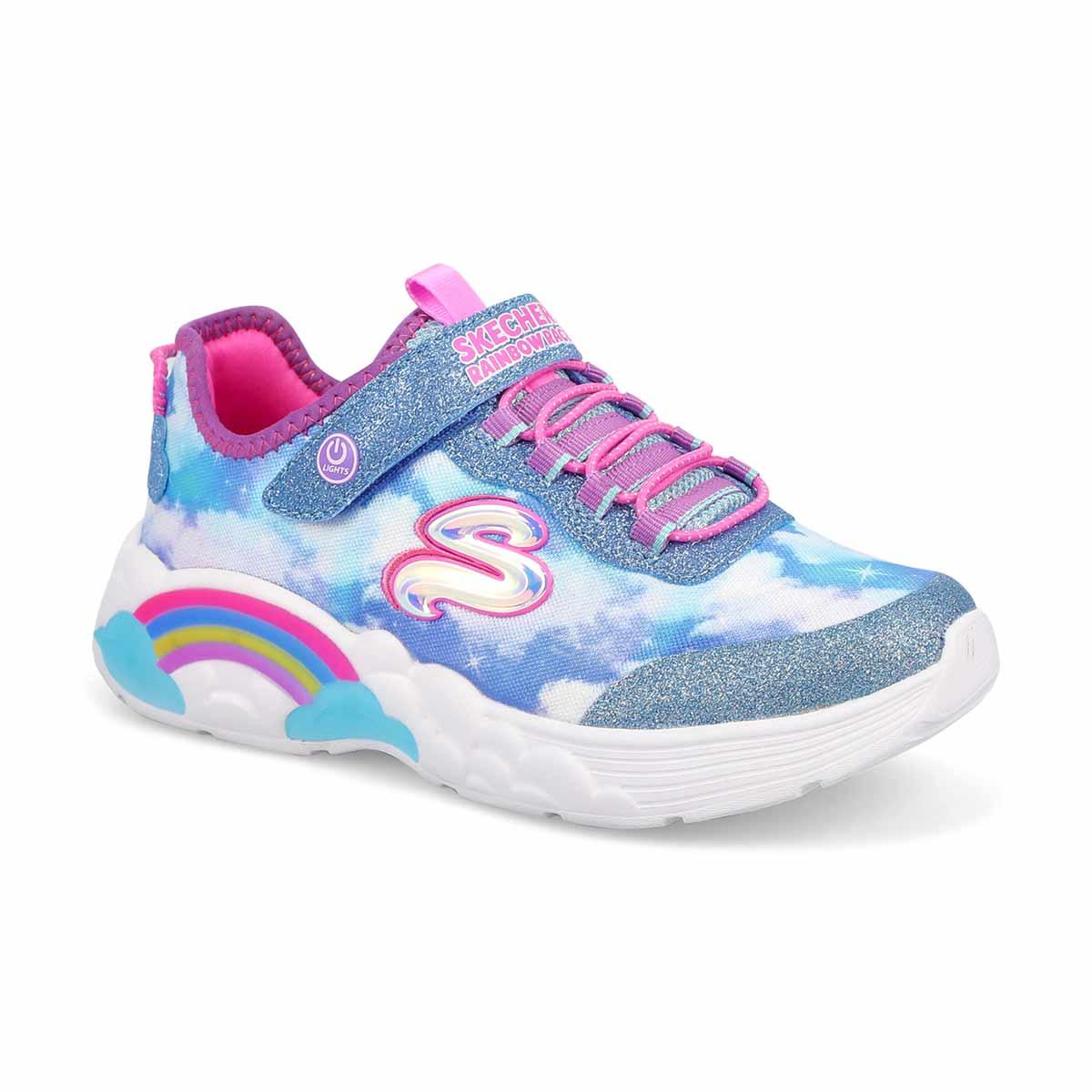 Girls' Rainbow Racer Light Up Sneaker - Blue