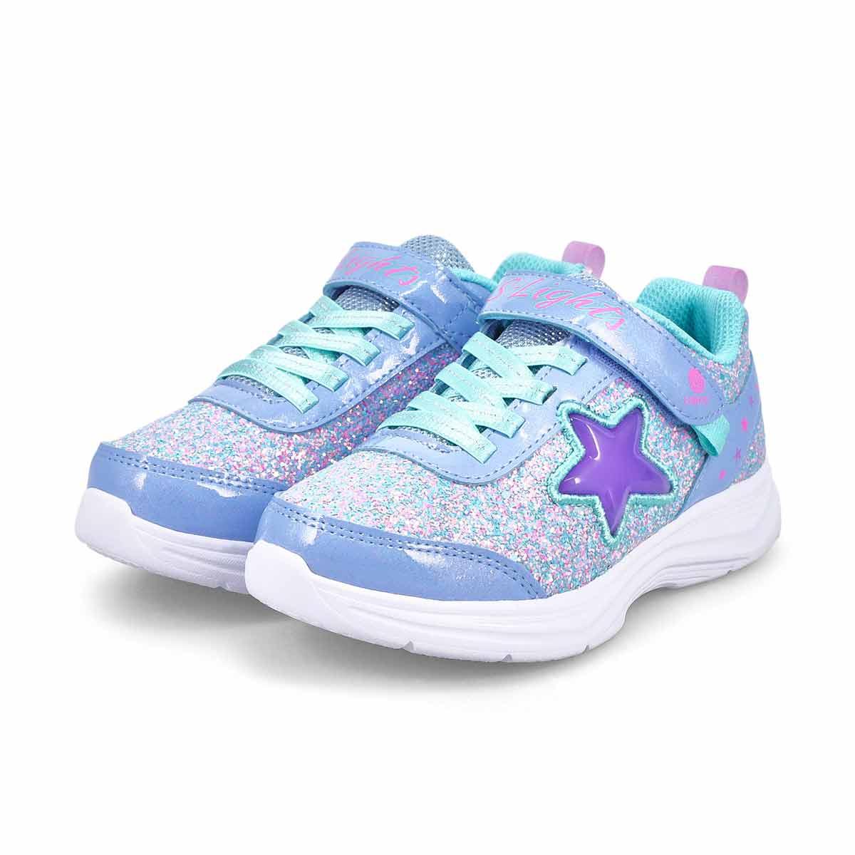 Girls' Glimmer Kicks Lighted Sneaker -Lavender/Aqu