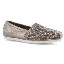 Lds Bobs Luxe Elite pewter slip on shoe