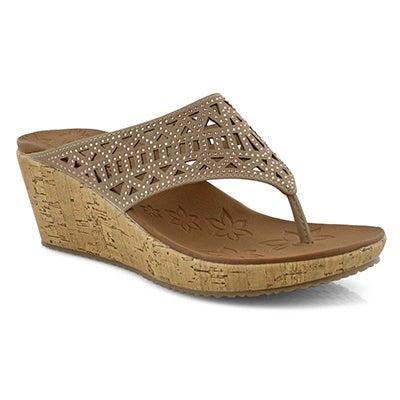 Women's BEVERLEEE taupe wedge thong sandal
