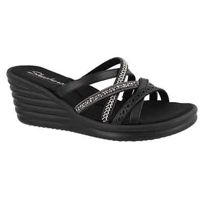 Women's RUMBLERS WAVE black wedge sandals