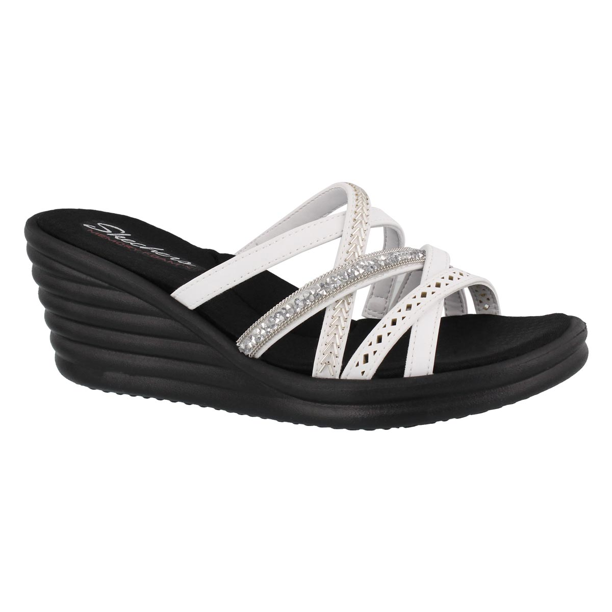 Women's RUMBLERS WAVE white wedge sandals