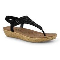 Women's BRIE black rhinestone thong sandals