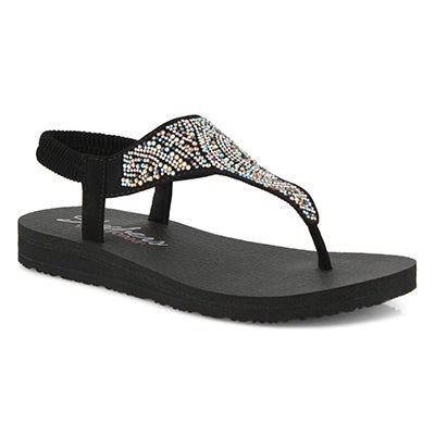 Women's MEDITATION blk/multi thong sandals