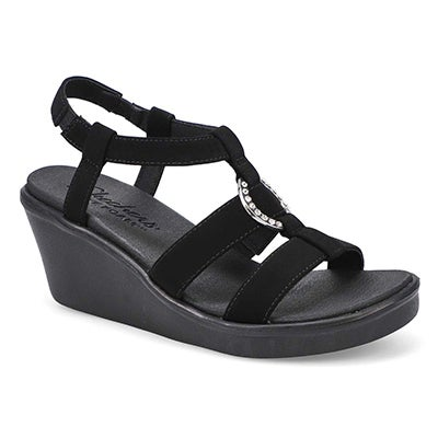 Lds Rumble On Dance Away blk wedge sndl