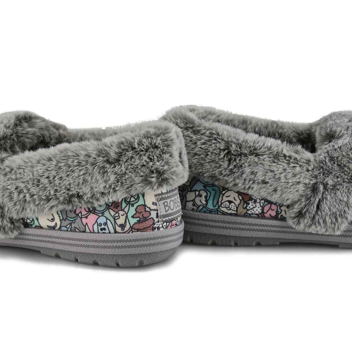 Women's Bobs Too Cozy Pooch Parade Shoe- Grey Mult