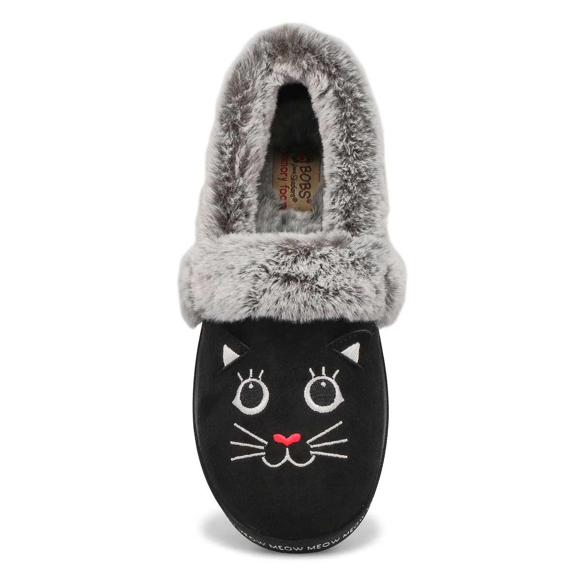 Women's Bobs Too Cozy Meow Pajamas Slipper- Black