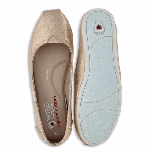 Lds Bobs Plush champagne slip on shoe
