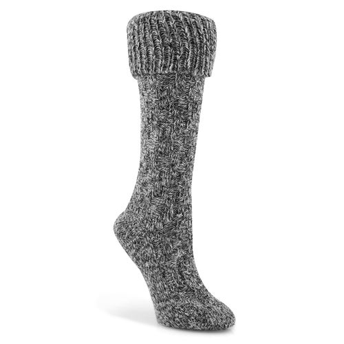 Lds Duray black cable knit tall sock
