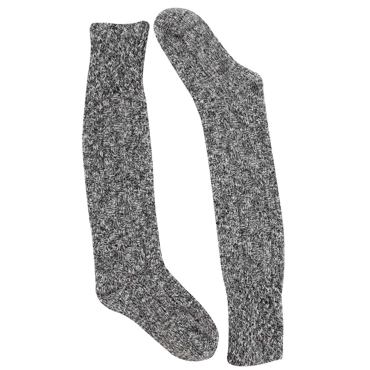 Chaussette haute,DURAY,tricot torsadé,noir,femmes
