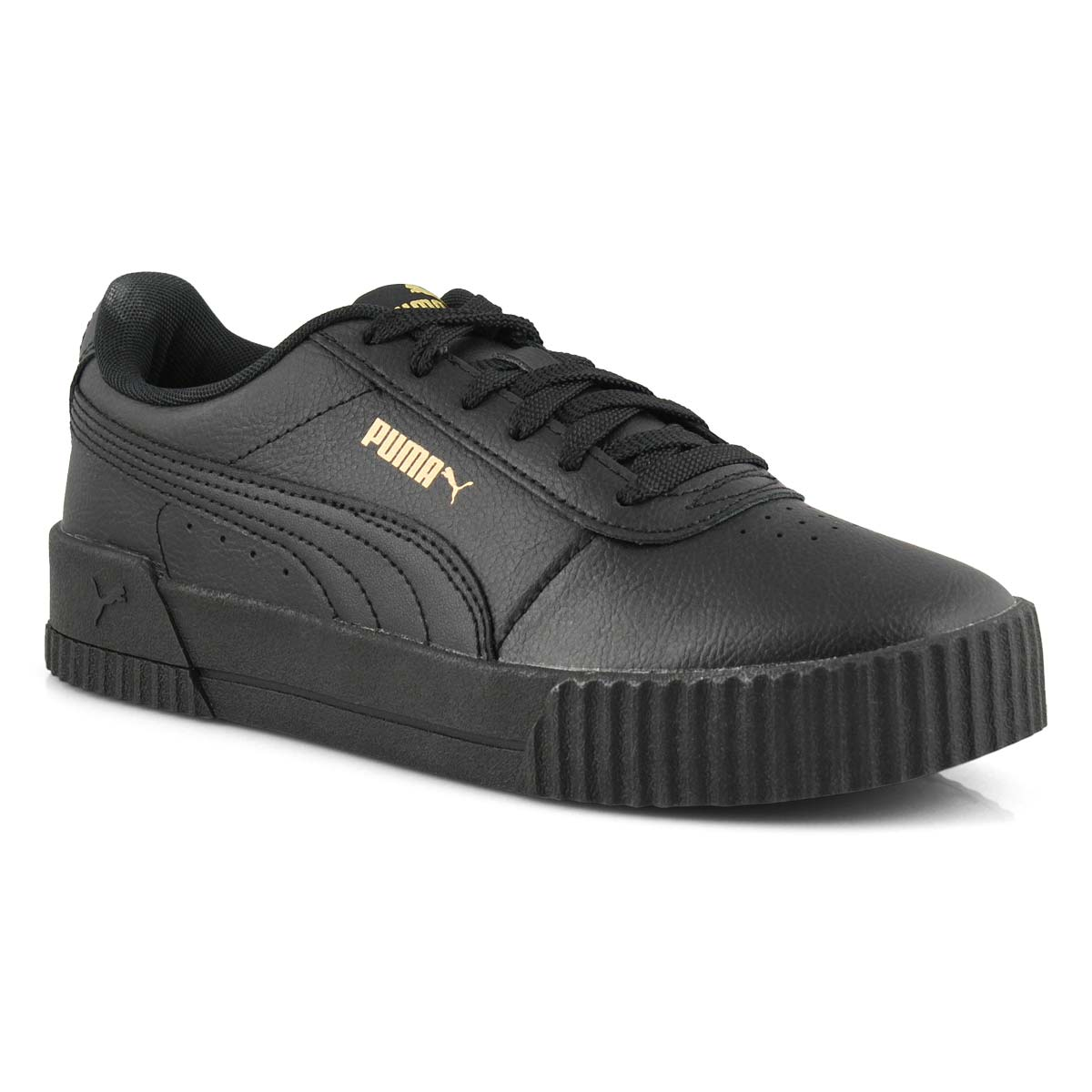 Lds Carina L blk/gld lace up sneaker