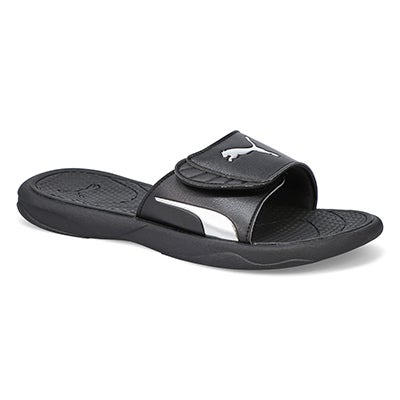 Lds Royal Cat blk/silver slide sandal