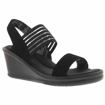 Lds Sci-fi blk sling back wedge sandal