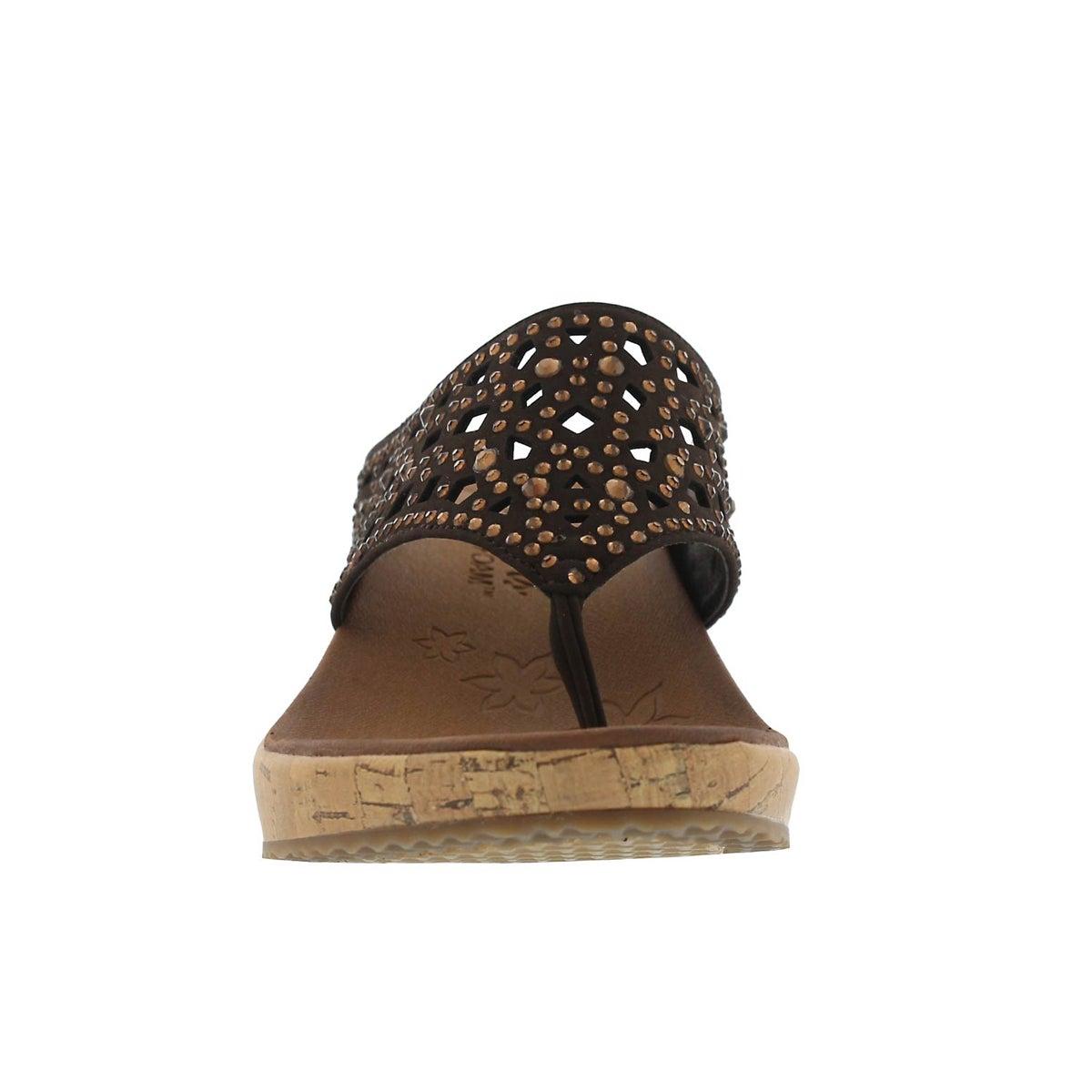 Women's BEVERLEE DAZZLED choc thong wedge sandals