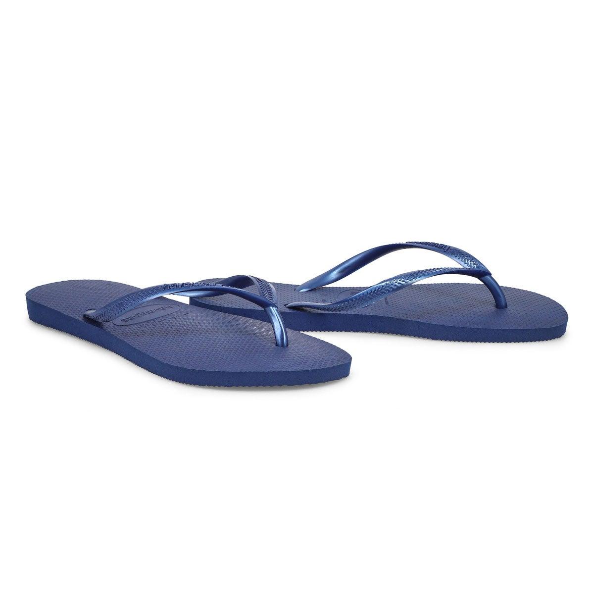 Women's Slim Flip Flops - Navy Blue