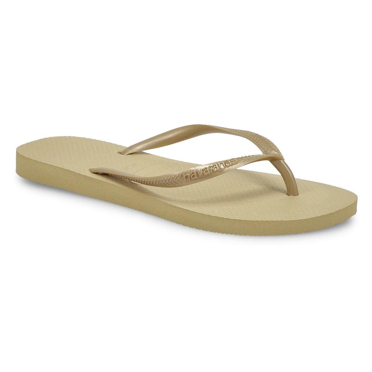 Women's Slim Flip Flop - Sand Grey/Light Golden