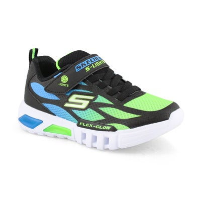 Boys' FLEX GLOW black/lime light up sneakers