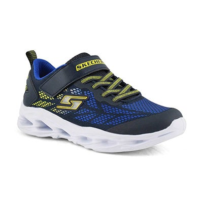 Boys' VORTEX-FLASH navy/yellow light up sneakers