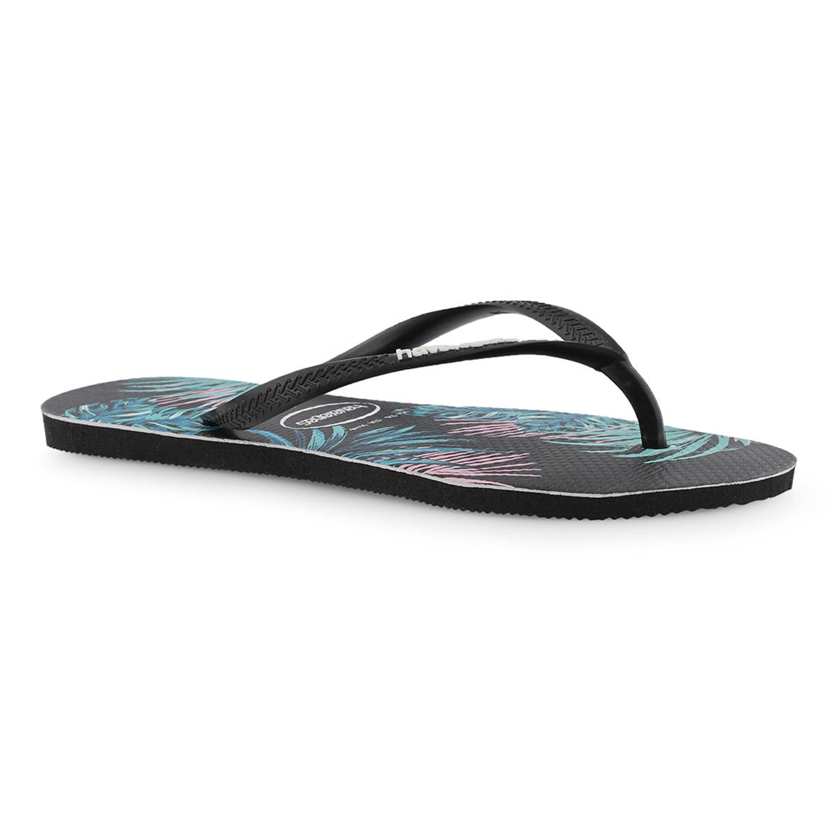 Women's Slim Tropical Floral Flip Flop - Black/Mlt