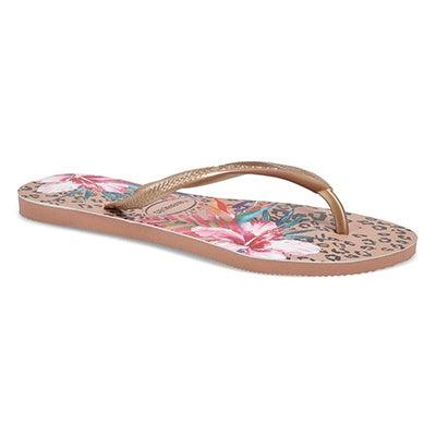 Lds Slim Animal Floral Flip Flop-Crocus