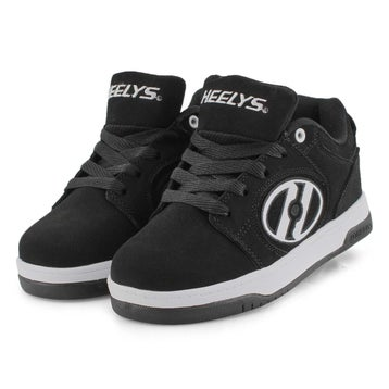 Boys' VOYAGER black/white lace up skate sneakers
