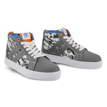 Boys' RACER MID grey camo hi top skate sneakers