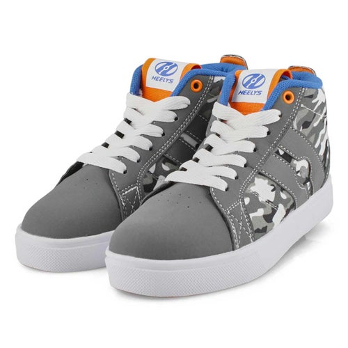 Bys Racer Mid gry camo hi top skate snkr