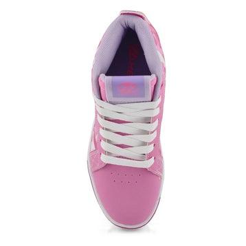 Girls' RACER MID pink/white camo hi skate sneakers