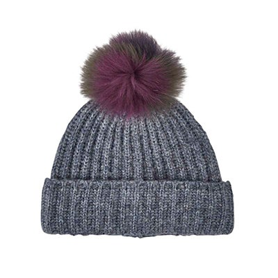 Fraas Women's MULTI FUR POM denim melange toques