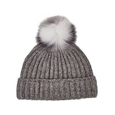 Fraas Women's MULTI FUR POM grey melange toques