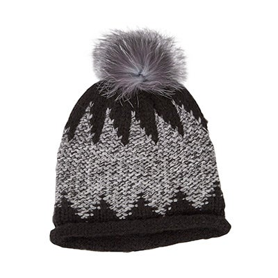 FraasWomen's CHUNKY ZIG ZAG FUR POM black hats