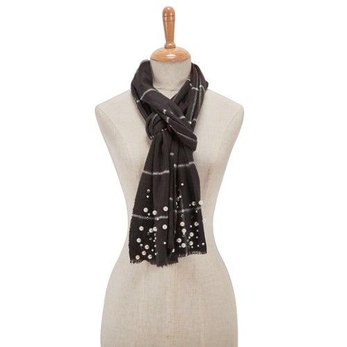 Foulard à carreaux, avec perles,nr,femme
