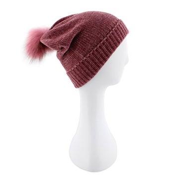 Women's CHENILLE METALLIC FUR POM plum hats